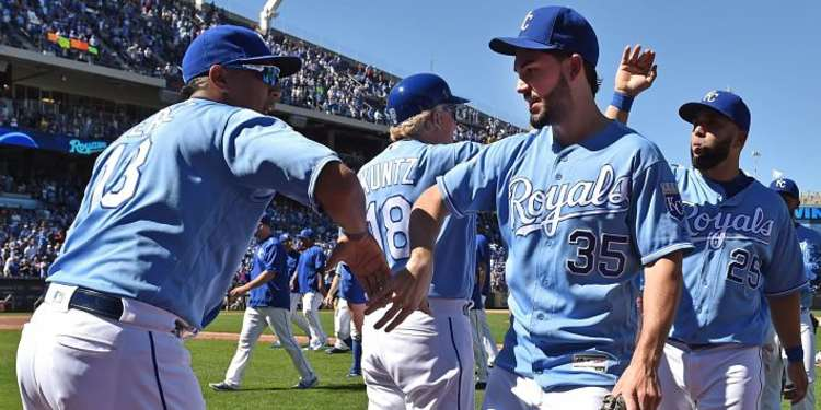 Kansas City players giving high fives