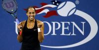 Tennis player Madison Keys celebrating