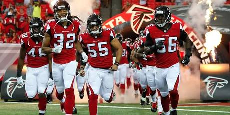 Falcons' running into the field