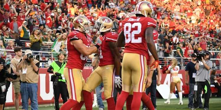 San Francisco 49ers teammates celebrating