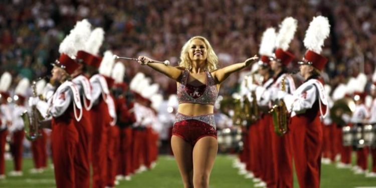 Alabama Cheerleader & School Band On The Football Field