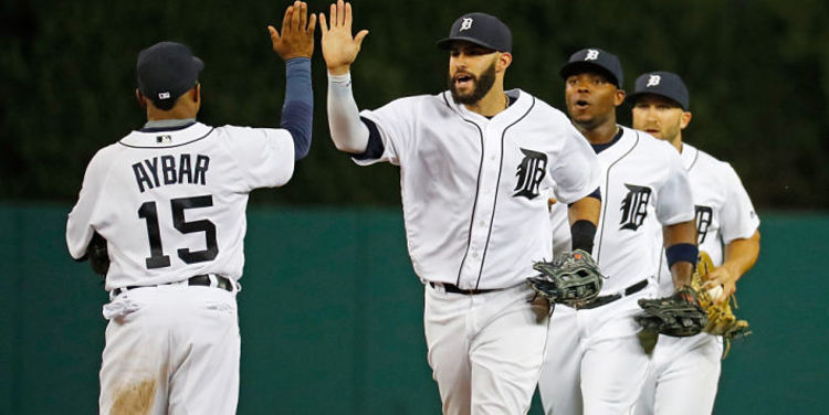 Detroit Tigers teammates giving high fives