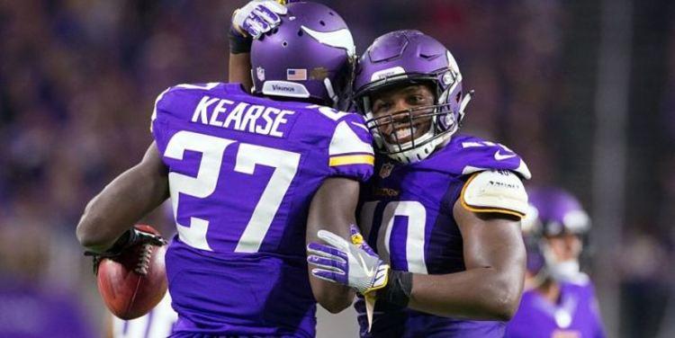 Vikings teammates celebrating together