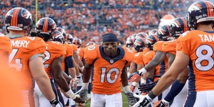 Denver Broncos bench looks happy