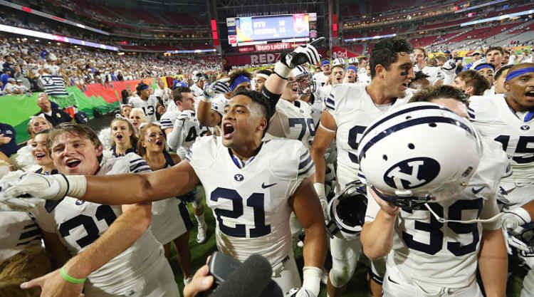 BYU Cougars Celebrate After Win