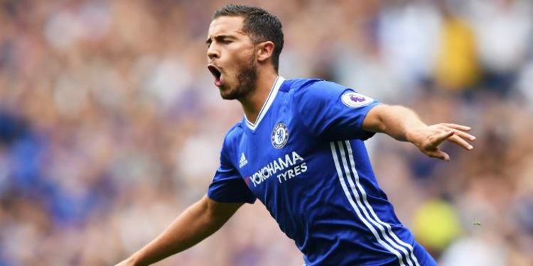 Eden Hazard of Chelsea celebrates scoring his sides first goal during the Premier League