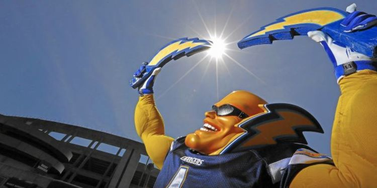 San Diego Chargers Mascot Holding Thunder Props