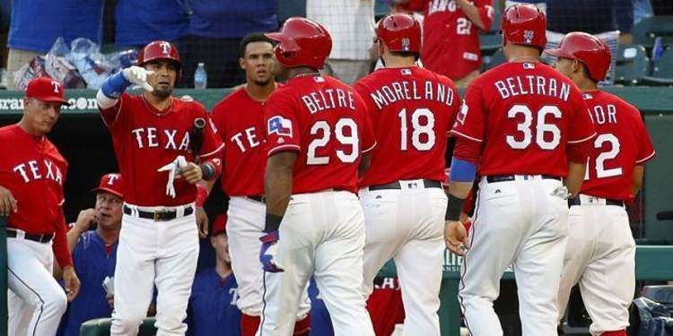 Texas Rangers team gathered around