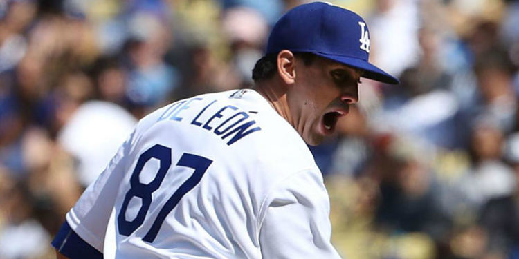Dodger's pitcher De Leon during a game, apparently screaming