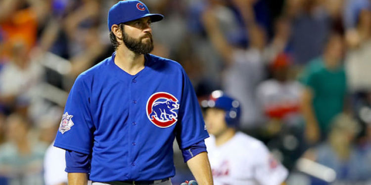 Jason Hammel during a game standing in the middle of the field