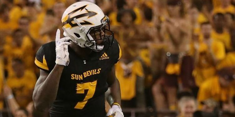 Arizona State Sun Devils' Kalen Ballage close-up picture running during a game