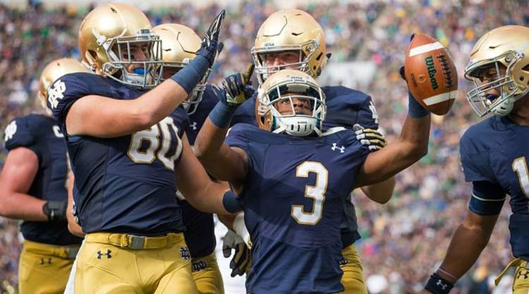 Notre Dame Fighting Irish Players Celebrate