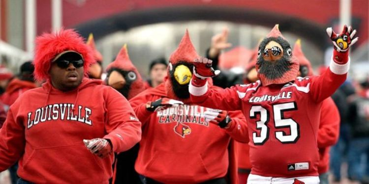 Louisville Cardinals Fans Walking On The Streets