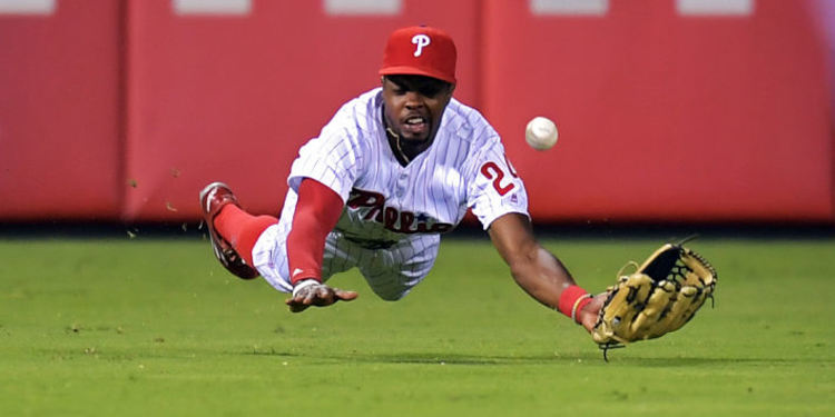Philadelphia Phillies in action trying to catch a ball