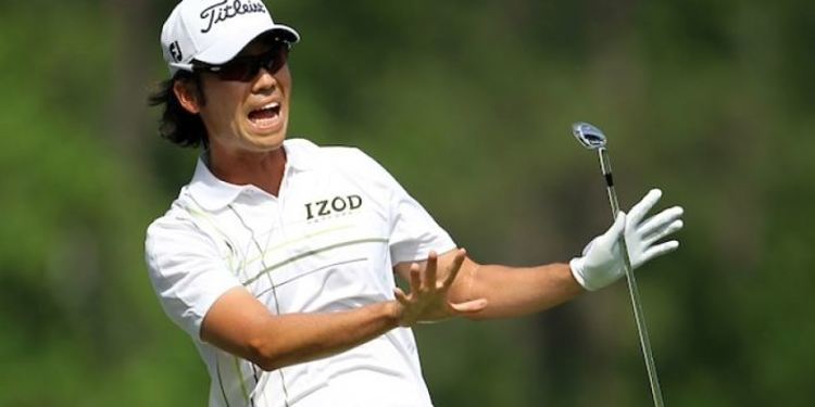 Kevin Na apparently screaming at a tournament, or maybe celebrating