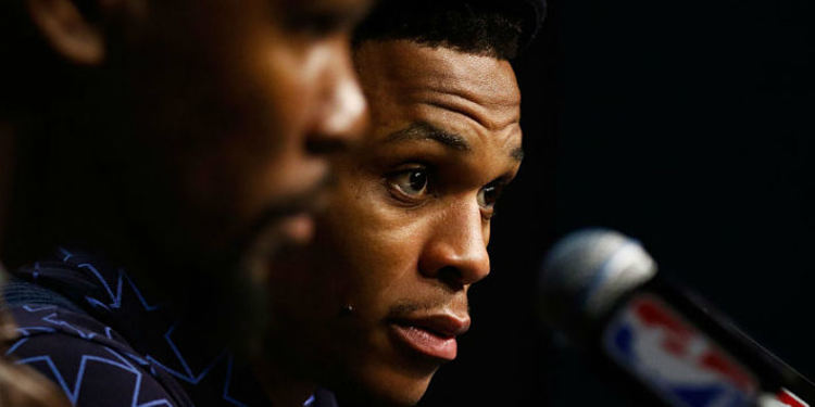 Russell Westbrook & Kevin Durant during a press conference
