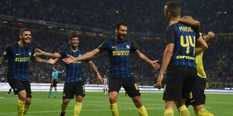 Inter Milan team celebrating at a game