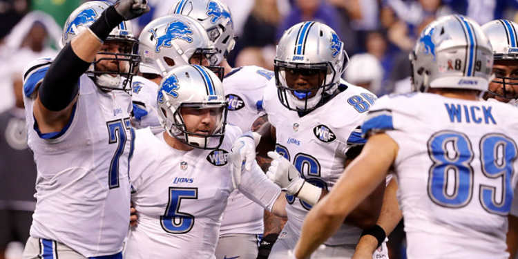 Detroit Lions team celebrating