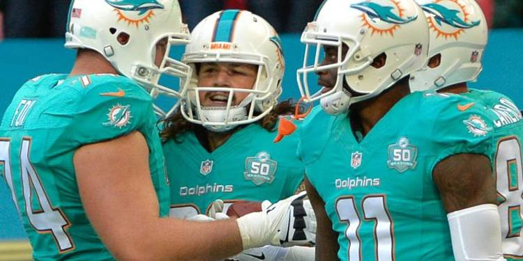 Miami Dolphins players going over plays