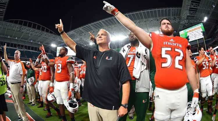 Miami Hurricanes Players Celebrate Win