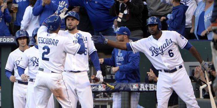 Kansas City Royals players celebrating