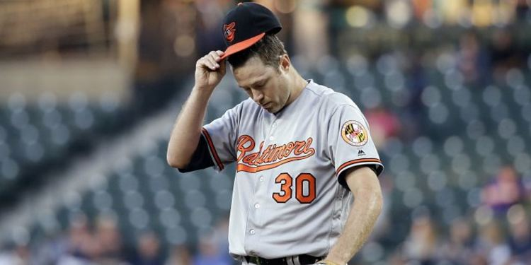 Chris Tillman looking down at a game