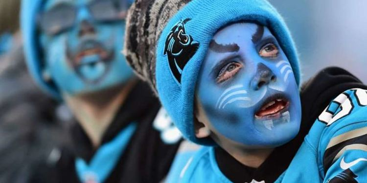 Panthers fan with his face painted