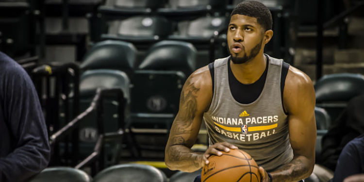 Paul George Shoots During Pregame