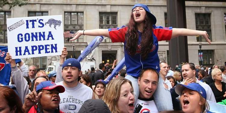 Chicago Cubs fans gathered cheering the club