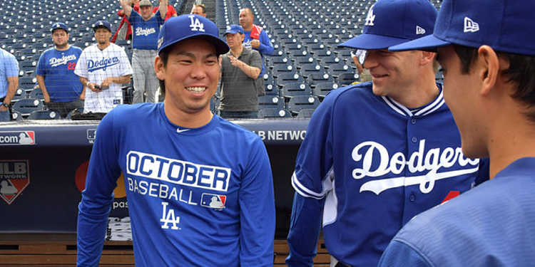 Kenta Maeda and his teammates relaxing before a game