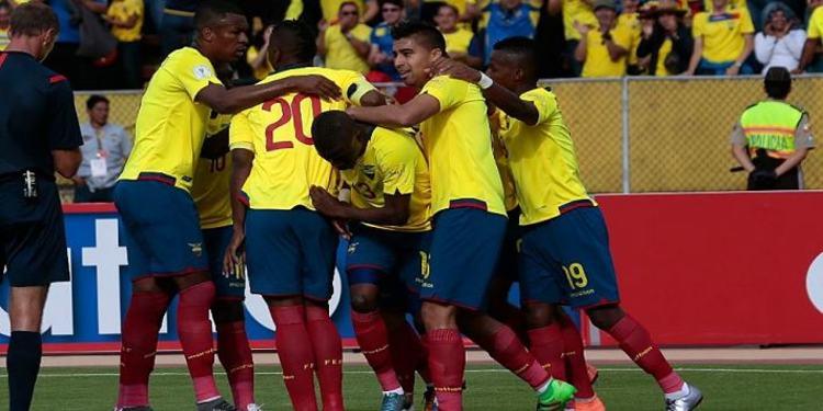Ecuador players celebrating