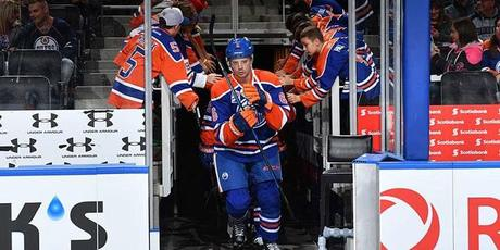 Oilers starting a game presentation