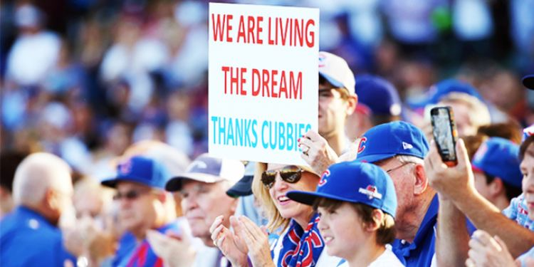 Chicago Cubs fans supporting the team