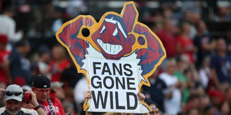 Cleveland Indians Fans holding signs
