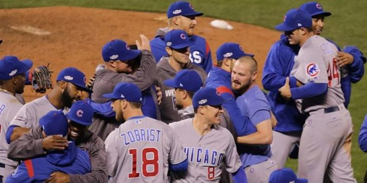 Chicago Cubs' team celebrating