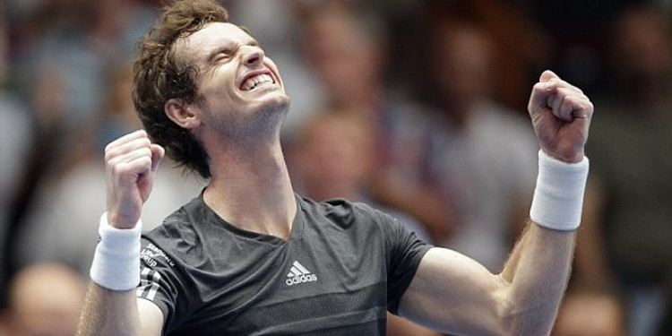 Tennis player Andy Murray celebrating