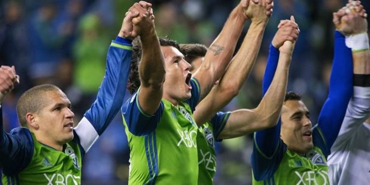 Seattle Sounders players celebrating