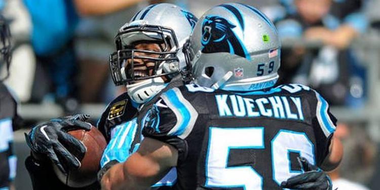 Carolina Panthers players celebrating