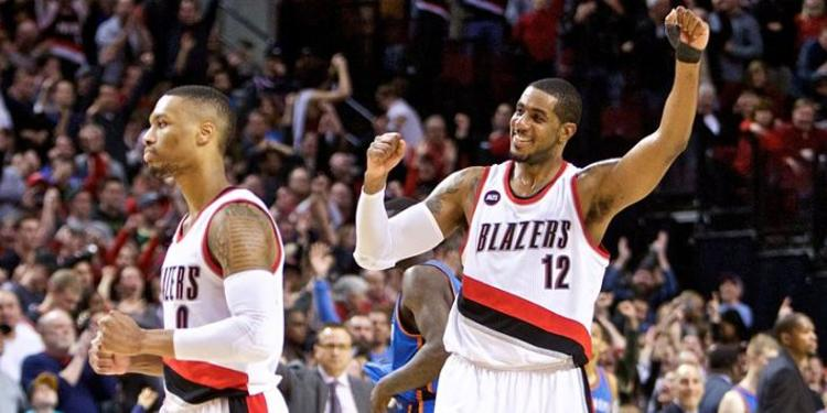 Portland Trail Blazers  players celebrating