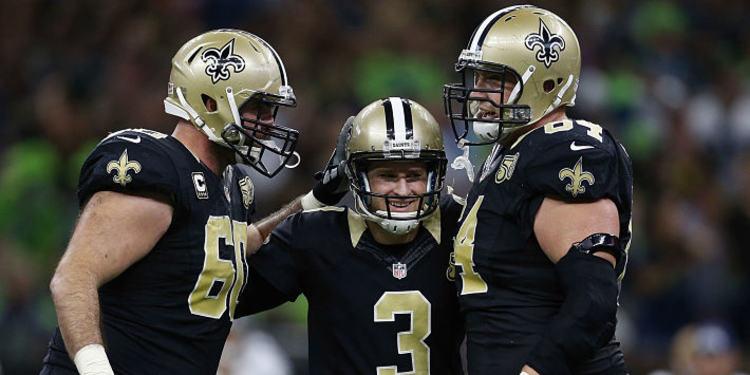 New Orleans Saints players celebrating
