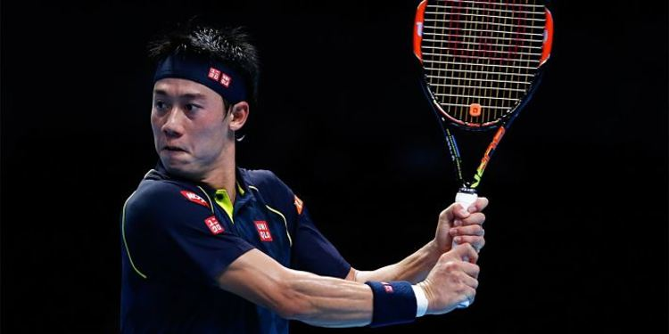 Tennis player Kei Nishikori in action