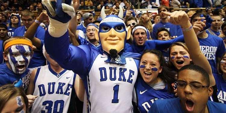 Duke Blue Devils mascot with fans