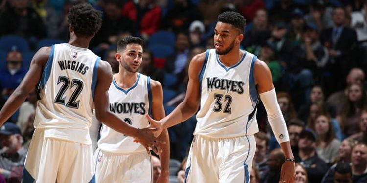Minnesota Timberwolves players in court
