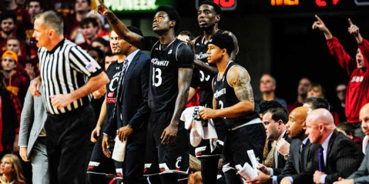 Cincinnati Bearcats players in bench