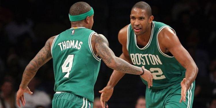 Boston Celtics players celebrating