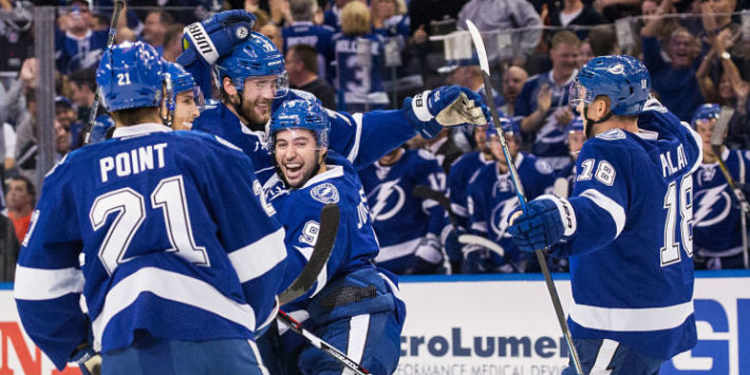 Tampa Bay Lightning players celebrating