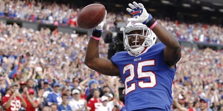 Buffalo Bills player celebrating