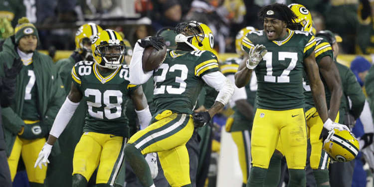 Green Bay Packers players celebrating