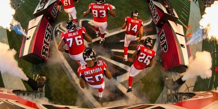 Atlanta Falcons players entering field