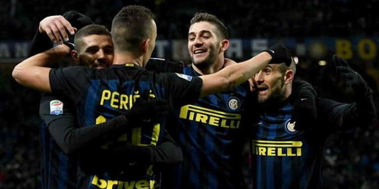 Inter Milan players celebrating